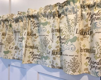 "French Words & Birds Cream, Seafoam Green, Tan, Light Blue, Gray, Brown 42"" Valance Curtain"