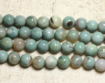 5pc - stone beads - Agate Turquoise and Beige balls 10mm 4558550019363