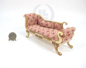 Miniature 1:12 Scale Doll House Miniature Regency Chaise [Unfinished wood frame]