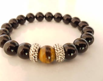 Tiger eye and shiny onyx mens bracelet