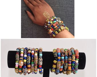 African Bracelet, Trade Beads, Stackable Bracelets,Krobo bead bracelet, Colorful Bracelets, African Jewelry,Beaded bracelets,Gift,Artisan