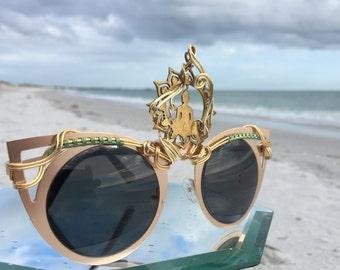 GOLD Cat Eye ~ SPUNGLASSES ~ Third eYe Sun Buddha Center piece ~ Wire Wrapped ~ Sunglasses Eyeglasses Sunnies ~ Every pair is a piece of art