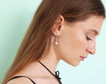 Minimalist Drop Earrings, Silver Marble Stone Earrings, White Stone Drop Earrings, Stone Bar Earrings.