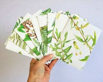 Set of 10 botanical envelopes, plants stationary, green gift envelopes, handmade envelope, A2 envelopes