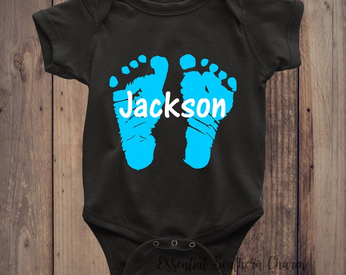 Personalized Baby Feet Body Suit Baby Shower Gift Vinyl