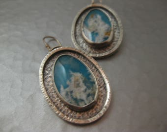 Regency Plume Agate and Turquoise Doublet Sterling Silver Earrings by strawberry frog