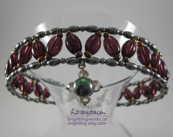Regal Choker; Dramatic Collar of Woven Rich Clear Purple and Metallic Glass, Blue Grey Faux Pearls & Natural Pearl and Crystal Focal Pendant