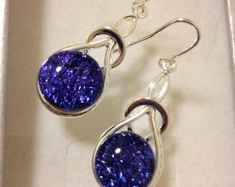 earrings, art nouveau earrings, dangle earrings, drop earrings, blue drops, blue dangles, blue earrings,