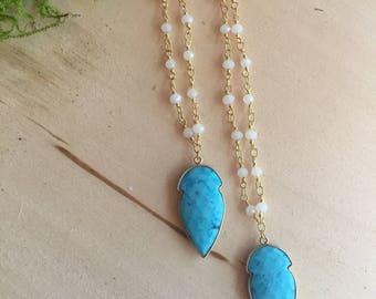 turquoise arrowhead necklace, Gold arrowhead necklace, turquoise arrowhead necklace, bohemian jewelry
