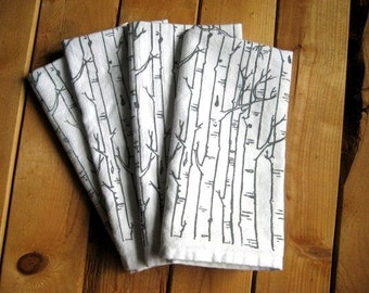 Cloth Napkins - Screen Printed Cotton Cloth Napkins - Eco Friendly Dinner Napkins - Birch Tree - Handmade Cotton Napkins - Reusable