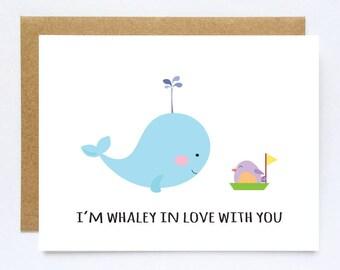 Long distance Cards, Boyfriend Card, Ldr Card,  Cute Anniversary Cards, Whale Card, Love Cards, I love you card, Boyfriend Birthday Card
