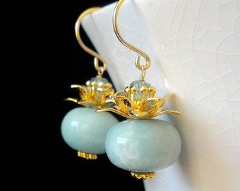 Amazonite Earrings Aqua Gemstone Earrings Aqua Earrings  Gold