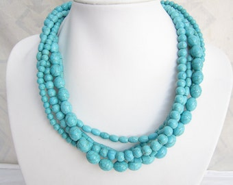 Vintage Jewelry,Turquoise Necklace,Multi Strand Necklace,Chunky Necklace, Handmade Jewelry,Bead Necklaces,Wedding Gift Ideas,Fashion Jewelry