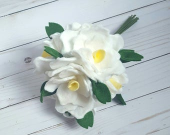 spring bouquet, spring flowers, white rose bouquet, spring wedding bouquet, felt flower bouquet, felt flowers, nursery decor