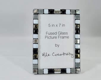 Fused Glass Picture Frame, Black, Grey, White Pieces and Silver Dichroic Glass
