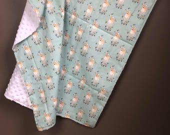 Minky Baby Blanket- Deer Antlers- Woodland Theme- Deer Theme- Crib Bedding