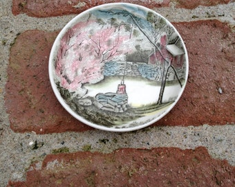 Johnson Bros Transferware Small Butter Dish The Well Ironstone From England