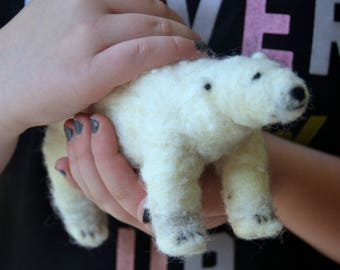 Polar Bear and baby Needle  Felted Waldorf Inspired