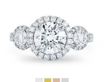 Engagement Ring Three Stone RD Halo Cut 17.24 ct Moissanite Diamond 14K 18K White Gold Hand Crafted