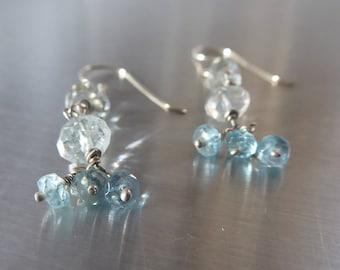 blue aquamarine and apatite dangle earrings in sterling silver, long gemstones earrings,cluster