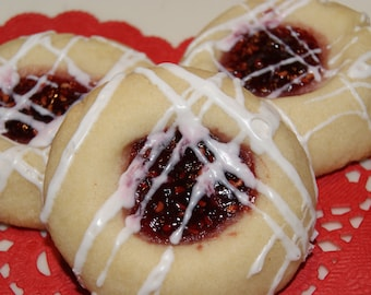 Raspberry Almond Shortbread Cookies - One Dozen, Easter Cookies, Easter Basket Filler, Spring, Thumbprint cookies, Homemade, edible gift
