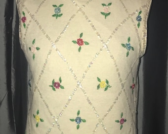 Vintage 1950s 1960s sequin beaded floral angora sleeveless pinup sweater