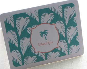 Palm Tree Thank You Card - Beach Wedding Note Card Gift Set of 10 - Personalized