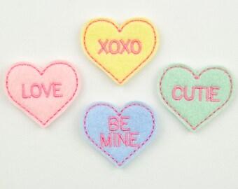 CONVERSATION HEARTS - Embroidered Felt Embellishments / Appliques - Multi Pastel  (Qnty of 4) SCF4045