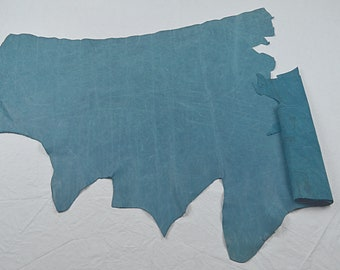 Perforated blue cowhide leather voucher