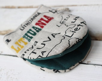 Kitchen Glove with Lithuania, Greetings from Lithuania, Mini Oven Glove, Kitchen Mini Mitt, Linen Kitchen Glove, Gift for the cook or baker