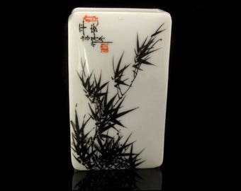 Old Chinese Hand Painted Bamboo Signed Book Form Porcelain Box