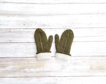 Merino Wool Toddler Mittens. Reversible Mittens. Double Layer Child Mittens. Green Mittens. Hand Knit Wool Toddler Mittens.