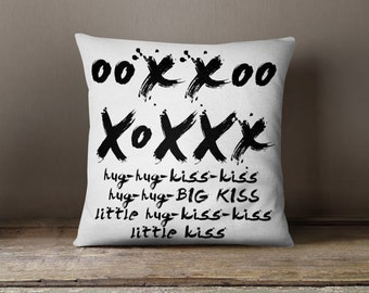 "funny christmas gifts for husband, movie quote pillow, ooxxooXoXXx, Throw Pillow 18x18"", black and white, gifts for boyfriend"