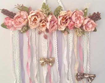 Hair Bow Organizer, Floral Nursery wall decor, Hair Bow Holder, Baby shower gift