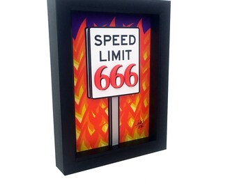 Devils Art Devil Horns Dark Art Print Dark Artwork Go To Hell Art Devil Worship 666 3D Pop Art Satan Art Lucifer Art Speed Limit Sign Horror