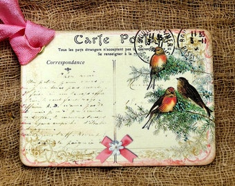 French Winter Bird Postcard Gift or Scrapbook Tags or Magnet #353