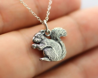 SQUIRREL NECKLACE - 925 Sterling Silver - Squirrel Charm Pendant Woodland *NEW*