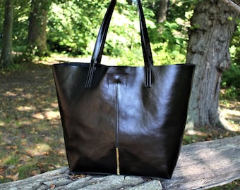 SALE   Soft Leather Tote with Gold Accent/ Roomy Genuine Black Leather Shopper/ Sturdy and Soft Black Leather Tote/Raw Edged Shopper