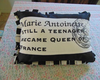 Fabulous Black and White Marie Antionette Cushion French Brocante Shabby Chic