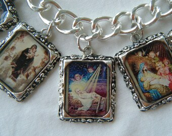 Christmas Bracelet  The Nativity  Madonna and Child Altered Art Bracelet