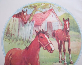 VINTAGE 1950s HORSES farmyard illustration - large bookplate, book page, print, drawing