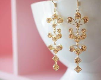 SALE-Rose gold earring, bridal earring, wedding rose gold earring, bridesmaid gift, wedding jewelry, rose gold jewelry, wedding Style ER0043
