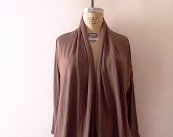 Chocolate Drape Collar Cardigan