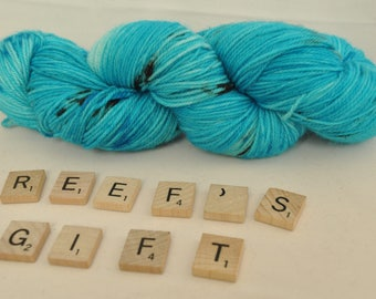 """Hand-dyed yarn, """"Reef's Gift"""" variegated, soft and squishy yarn. Great for socks or shawls. 80/20 Superwash wool/Nylon"""