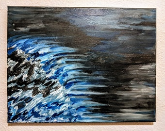 Abstract Acrylic Painting- Waves in the Night