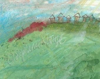 "Hilltop Houses - 8.5"" x 11"" signed digital Giclee print from original artwork"