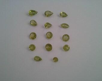 Peridot natural gemstones set of 14 faceted 10.8ct