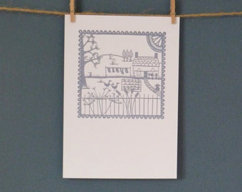 HALF PRICE Greeting Card taken from 'A Country Garden' paper cut by Loula Belle At Home