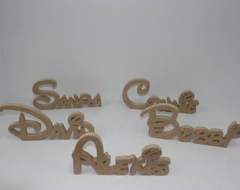 Disney Wooden Letters, Disney Font Stand Alone Wooden Name Sign. Cut Out Stand Alone Disney Font Name Signs For Setting On Desks Or Shelf.