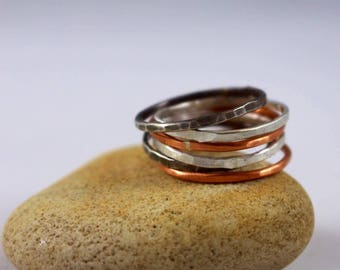 Sterling Silver Stacking Rings, Hammered Silver Stacking Rings, Stacking Ring, Silver Rings, Stacking Ring, Fine Silver Ring